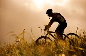 man rides his mountainbike